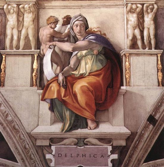 The Delphic Sibyl. (1509) By Michaelangelo. Sistine Chapel, Vatican City.