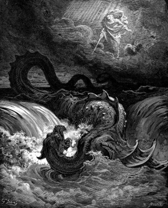 The Destruction of the Biblical Leviathan. This engraving by Gustave Doré, 1865, holds the conceptual archetypes of the AD 565 incident at Loch Ness. CC ASA 3.0