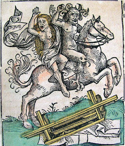 The Devil and a woman on horseback. Illustration by Hartmann Schedel