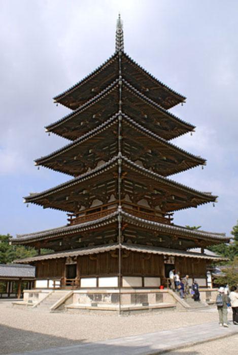 The Five-storied Pagoda of Hōryū-ji, a Buddhist temple in Ikaruga, Nara prefecture, Japan.