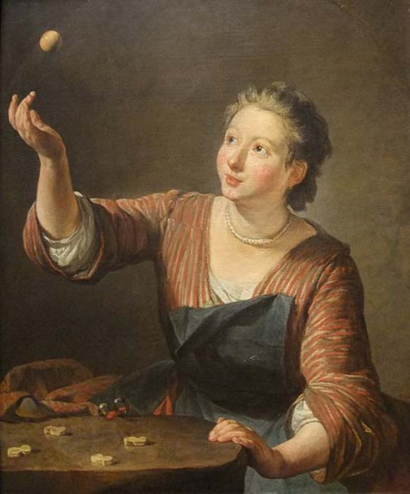 """An oil on canvas painting titled """"The Game of Knucklebones (Les Osselets)"""" (1734) by Jean-Baptiste-Siméon Chardin."""