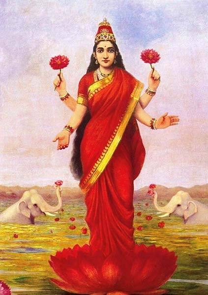 Gold the peacock the lotus flower and other sacred indian symbols the goddess lakshmi 1896 by raja ravi varma public domain mightylinksfo