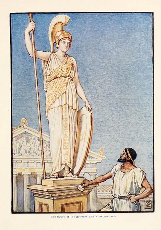 The Goddess statue by Phidias was said to be colossal