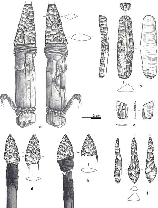 The Iceman lithic assemblage: a) Dagger, b) Endscraper, c) Borer, d) Arrowhead 14, e) Arrowhead 12, f) Small flake. (Image: Wierer et al)