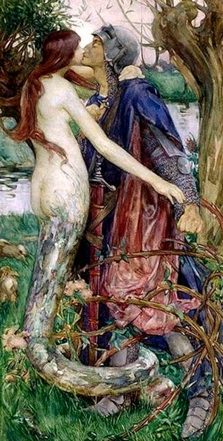 "'The Knight and the Mermaid' or 'The Kiss of the Enchantress', watercolor painting. Inspired by the poem ""Lamia"" by John Keats"