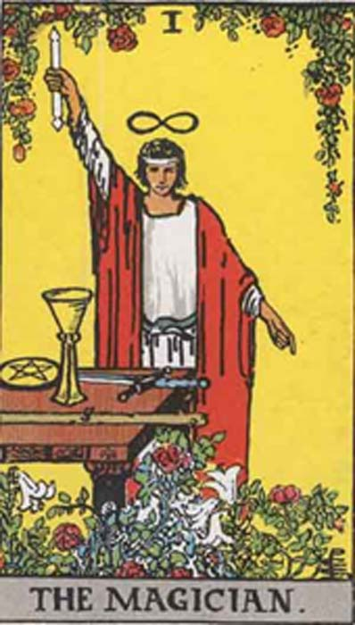 As above, so below. The Magician from the Rider-Waite tarot deck. (Public Domain)