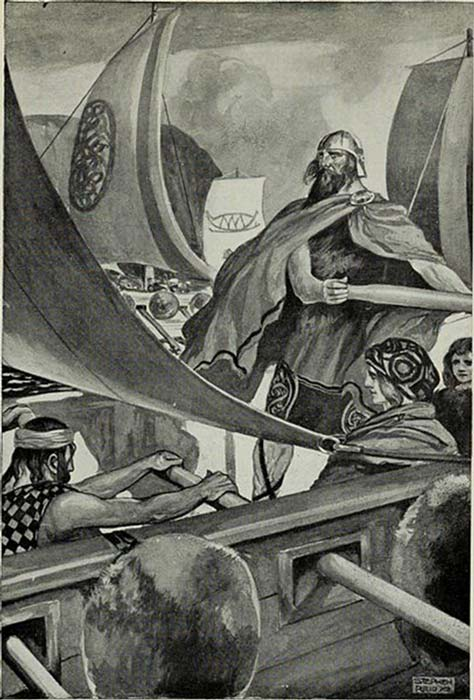 """The Milesians are known also as the Sons of Mil, this illustration depicts """"The Coming of the Sons of Miled"""", in T. W. Rolleston's Myths & Legends of the Celtic Race. (Fæ / Public Domain)"""