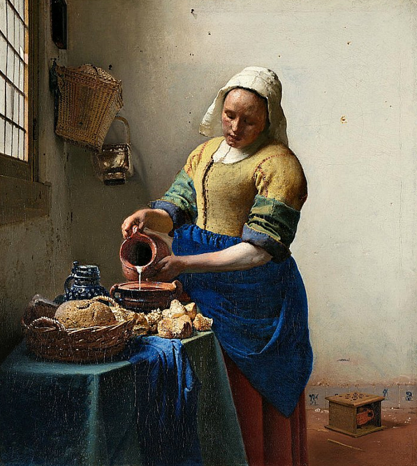 """The Milkmaid"" (1657-1658), painting by the Dutch artist Johannes Vermeer. Rijksmuseum in Amsterdam, Netherlands."