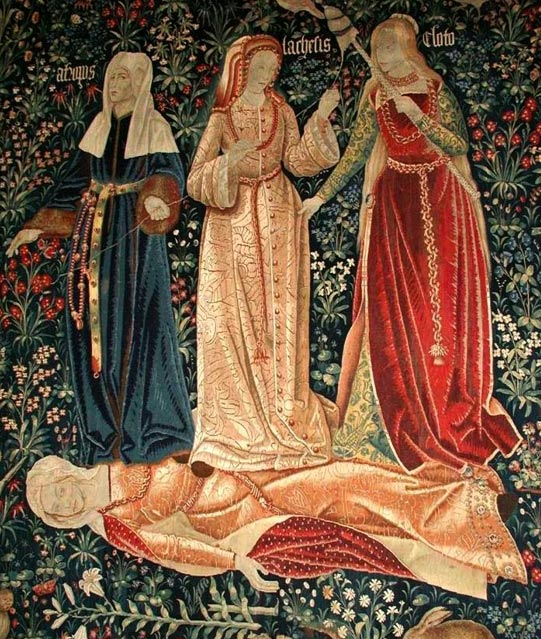 The Moirai, Clotho, Lachesis and Atropos, who spin, draw out and cut the thread of Life, represent Death in this 16th century Flemish tapestry. Here the Fates triumph over the fallen body of Chastity.