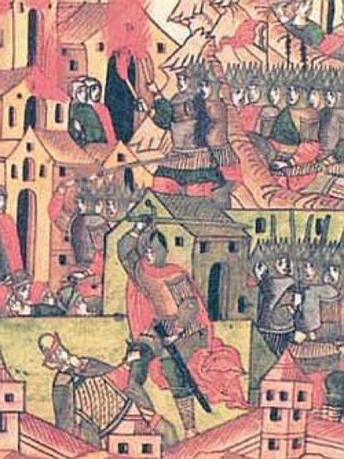 The Mongol army captures a Rus' city. (Public Domain)