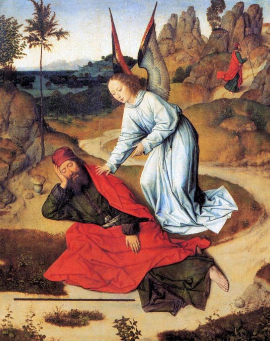 The Prophet Elijah in the Desert, a 15th century painting by Dieric Bouts; sometimes Khiḍr is equated with Elijah and the same stories are even told about them. The two are among the four immortals of Islam; the other two are Jesus and Idris.
