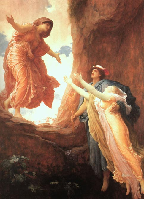'The Return of Persephone' by Frederick Leighton; the researchers are unsure why the temple of Demeter and Persephone, which they identified based on a statue, was oriented to the lunar azimuth.
