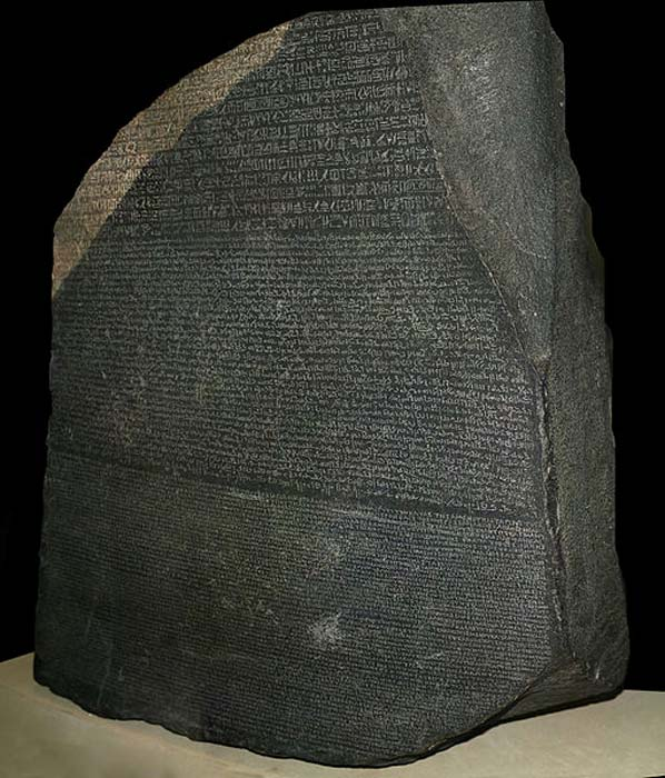 The Rosetta Stone with text written in three scripts.