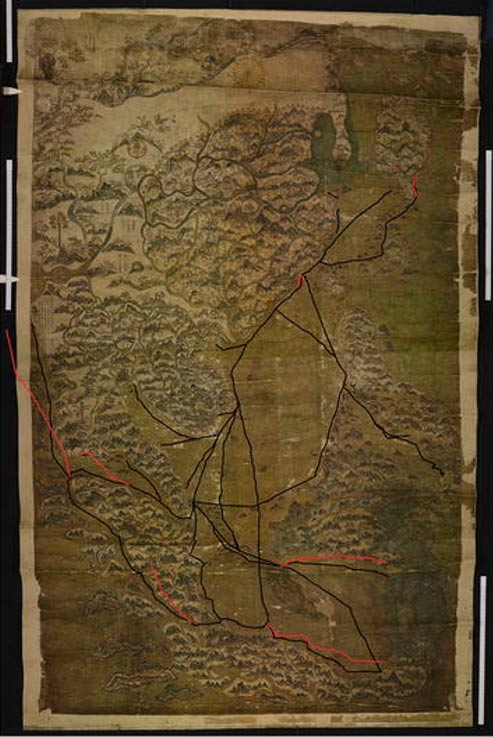 The Selden map (before the 2011 conservation treatment) with the trade routes enhanced by thick black lines.