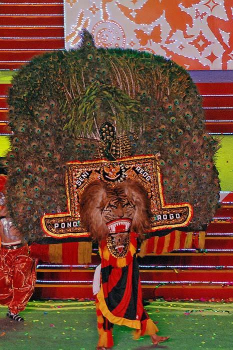 The Singa Barong of the traditional dance of the Reog Ponorogo.