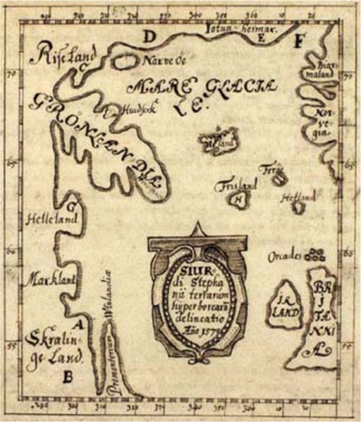 The Skalholt-map made by the icelandic teacher Sigurd Stefansson in the year 1570. It shows the phantom island Frisland, Greenland, Iceland and the British Isles.