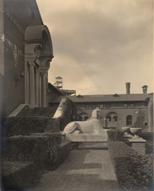 The Sphinx rested in the Penn Museum courtyard for three years from 1913-1916. This 1915 photo was taken by Charles Sheeler. Image: Penn Museum Archives. (Penn Museum)