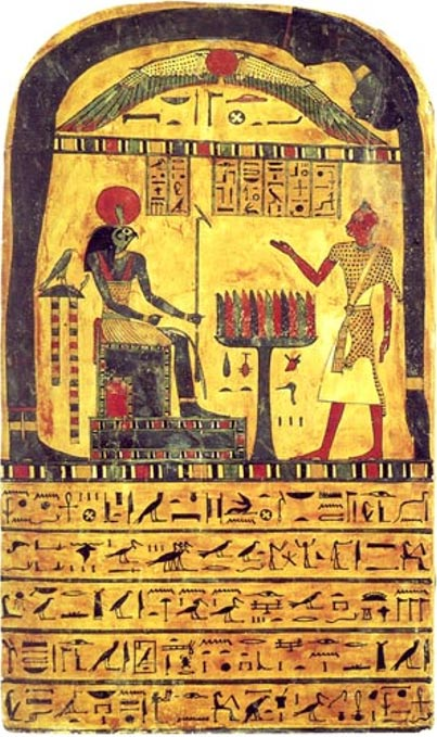 """The Stele of Revealing."" A funerary tablet of Ankh-af-na-khonsu, a 26th dynasty (apx. 725 BC) Theban priest."