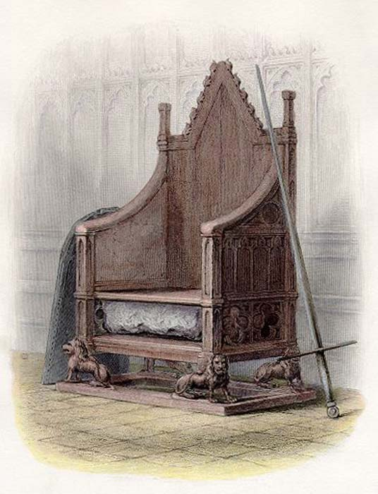 The Stone of Scone in the Coronation Chair at Westminster Abbey. Published in 'A History of England.' (1855)