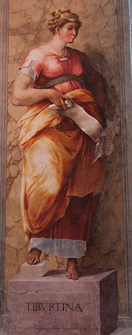 The Tiburtine Sibyl with a document. (c. 1540) Church of Santissima Trinità dei Monti, Rome, Italy.