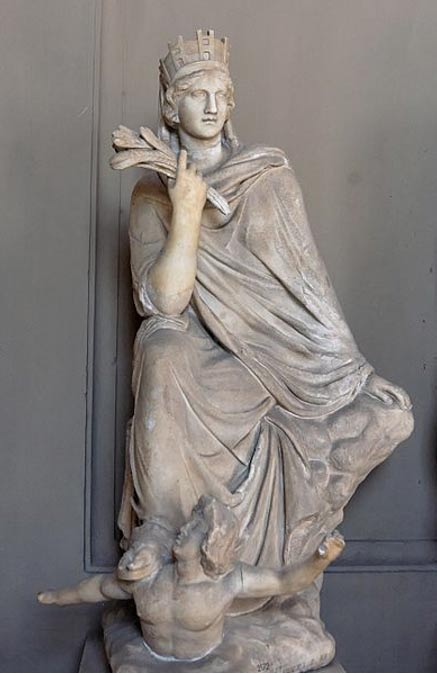 The Tyche of Antioch. Roman copy in marble after the original Greek bronze by Eutychides of the 3rd century BC. Vatican Museums.