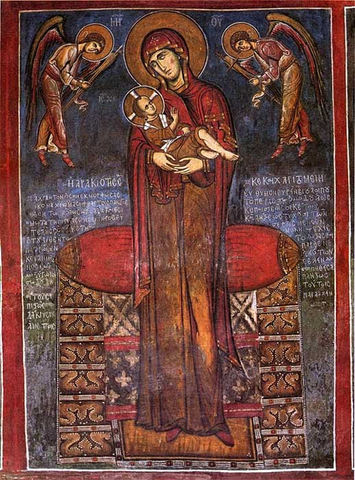 The Virgin Mary, seen here in a Byzantine icon, was especially important to Heraclius and his subjects.  (Andreas und Judith A. Stylianou / Public Domain)