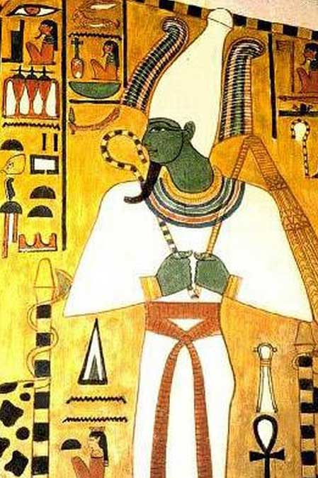 The White Crown, or hedjet, as worn by Osiris in this tomb depiction.