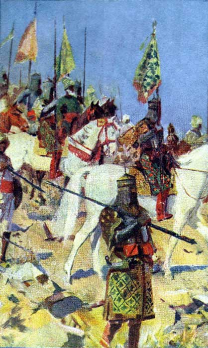 'The army of Alaudeen on March to Deccan', a 20th-century artist's impression. (Public Domain)