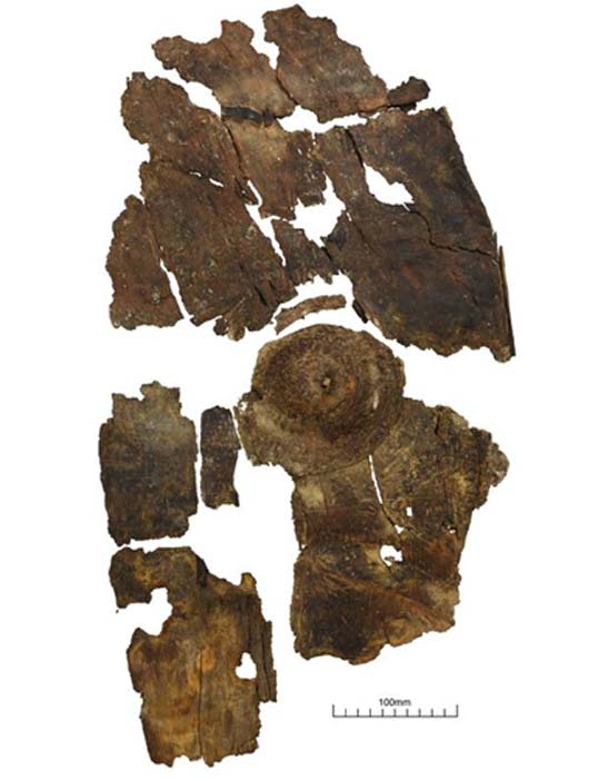 The bark shield had become shrunken and misshapen after centuries in the water. (University of Leicester / Fair Use)