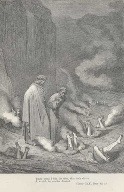 The bolonia of the simoniacs, as in Dante's Inferno, illustration by Gustave Doré (Public Domain)