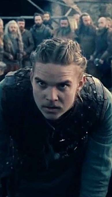 The character Hvitserk, probably a nickname for Halfdan, in the series Vikings.