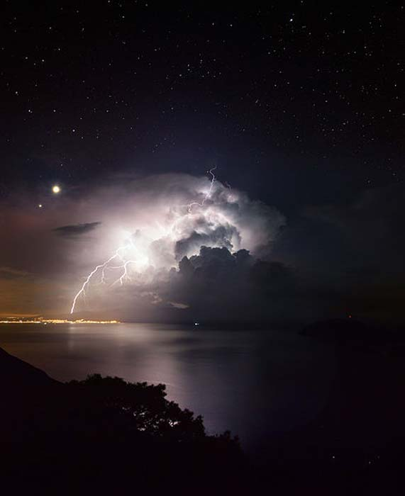 The clear starry night and the conjunction of Venus and Jupiter provide the best background for this photogenic severe storm going off Samos Island in Greece on 10/21/2015.