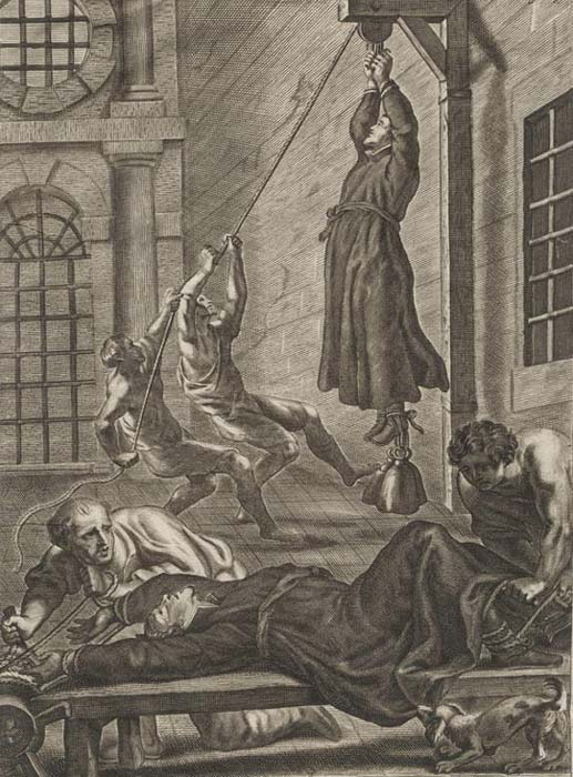 The consequences if a priest were captured. Engraving by Gaspar Bouttats.