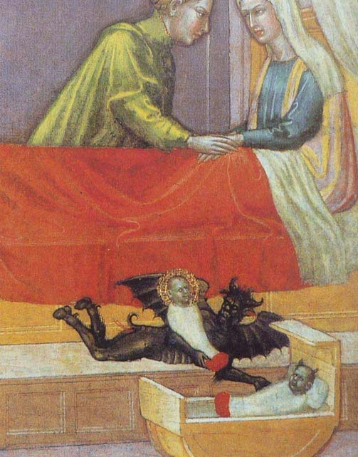 The devil steals a baby and leaves behind a fairy replacement, known as a changeling. Early 15th century.