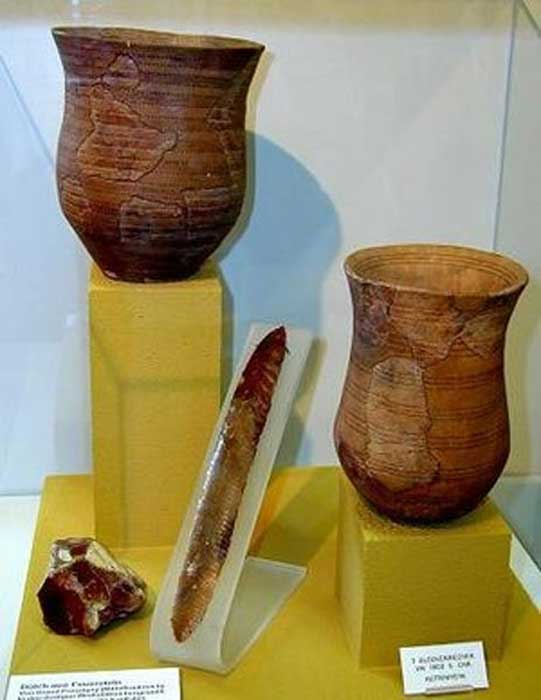 The distinctive Bell Beaker pottery drinking vessels shaped like an inverted bell
