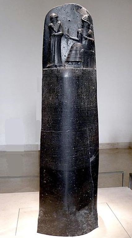 "The entire ""Code of Hammurabi"" stele. Louvre Museum, Paris."