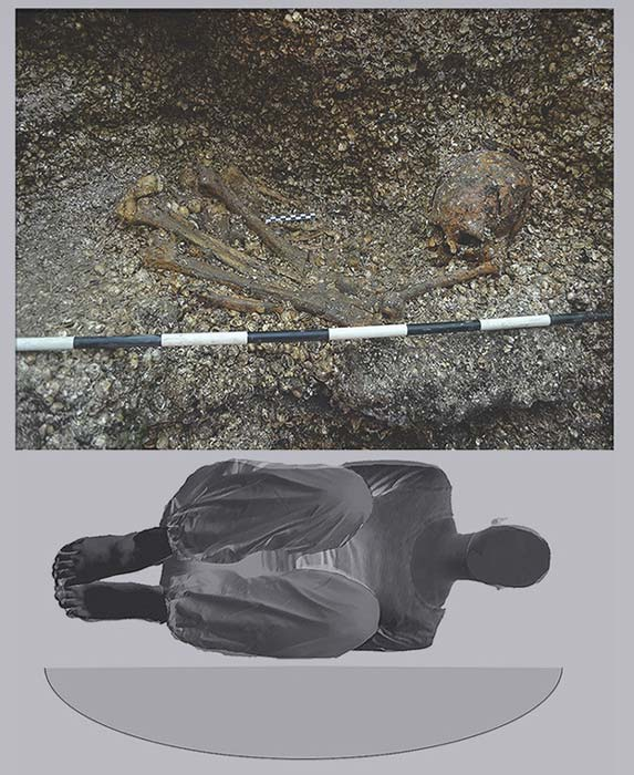 Top - The excavated burial of the ancient woman, bottom - how she was buried in a shallow oval pit about 5,900 years ago. (Roksandic M / Antiquity)