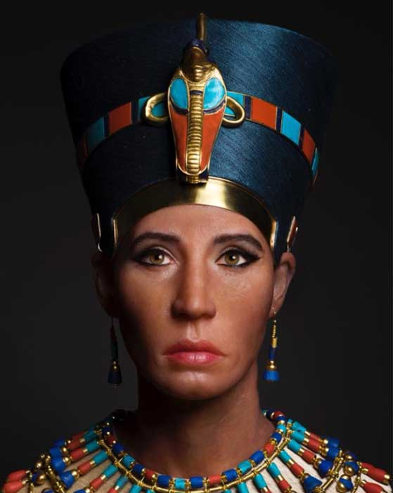 The facial reconstruction sculpture of the mummy called the Younger Lady, bearing what is said to be the true likeness of Nefertiti who is speculated by some scholars to have been Tutankhamun's biological mother. (Photo: Travel Channel, 'Expedition Unknown')