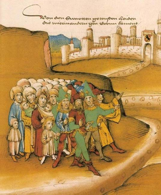 """The first arrival of the Romanies outside Bern in the 15th century,"" described by the chronicler as getoufte heiden (""baptized heathens"") and drawn with dark skin and wearing Saracen-style clothing and weapons. (Public Domain)"