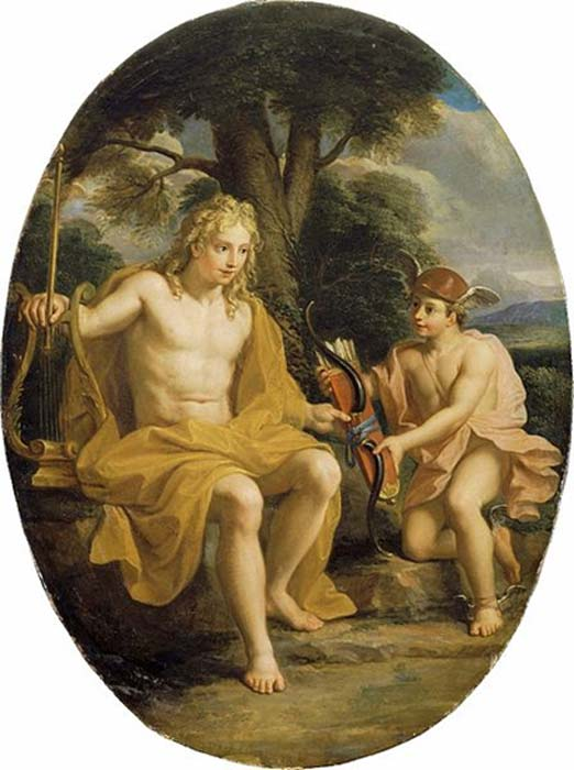 The friendship of Apollo and Hermes. (Shuishouyue / Public Domain)