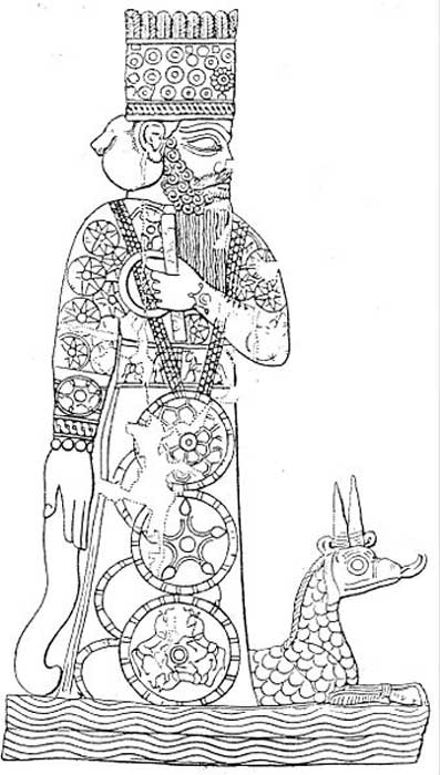 The god Marduk with his dragon, from a Babylonian cylinder seal. (Public Domain)