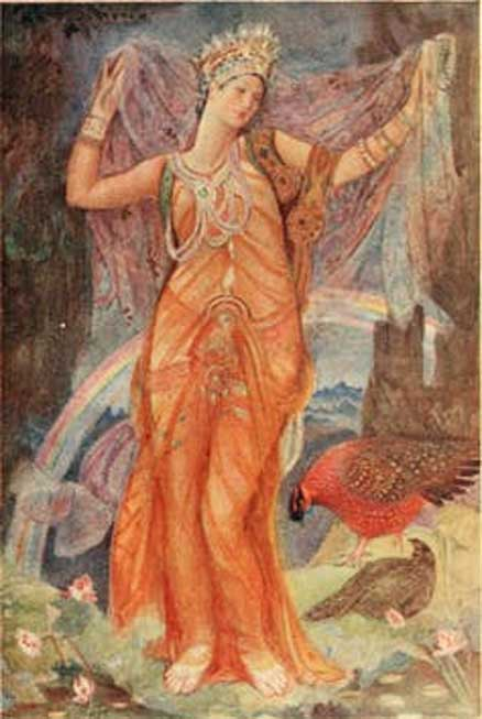 The goddess Ishtar as depicted in Myths and legends of Babylonia & Assyria, 1916, by Lewis Spence. Wikimedia
