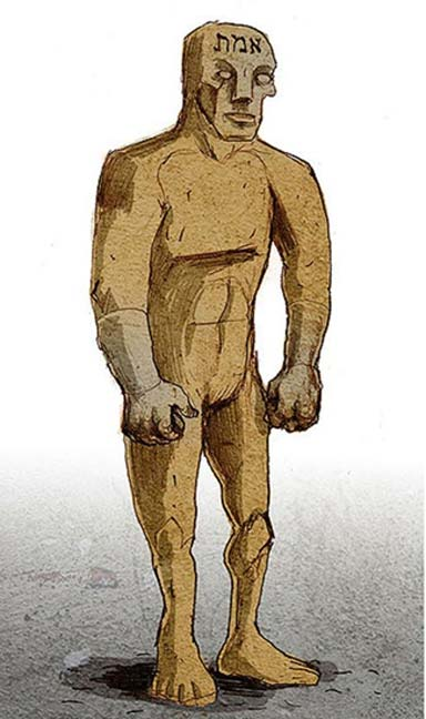 The golem is first formed in the shape of a human being. Illustration of a golem by Philippe Semeria. The Hebrew word for Truth, one of the names of God, is written on his forehead. (CC by SA 3.0)