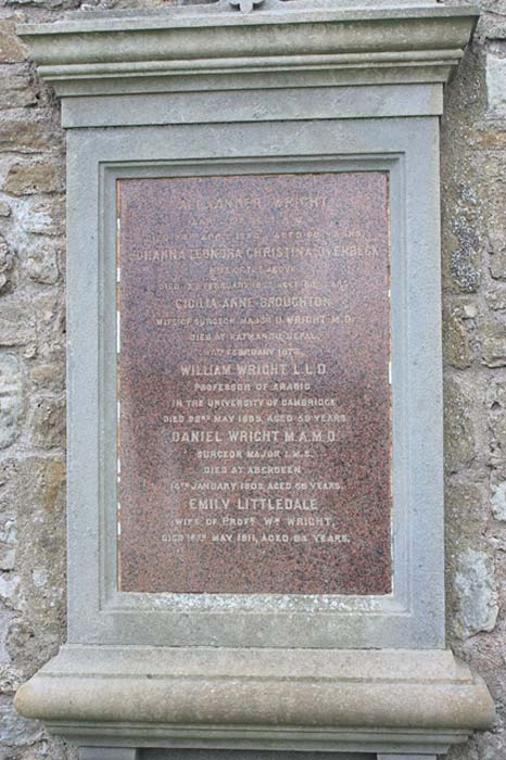 The grave of Prof. William Wright, St Andrews Cathedral churchyard.