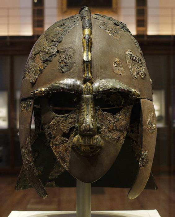 The helmet, one of the most important finds from Sutton Hoo.