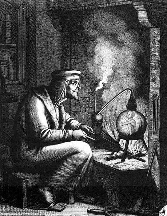 The homunculus is a diminutive humanoid creature believed to be created through magical alchemical means. 19th century engraving of Homunculus from Goethe's Faust part II (public domain).