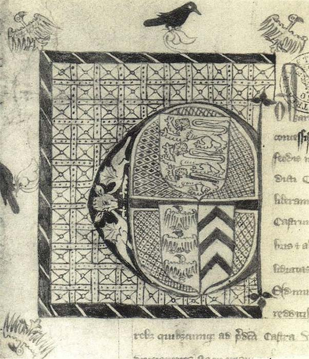 The initial from the charter granting the earldom of Cornwall to Piers Gaveston on 6 August 1307. (Public Domain)