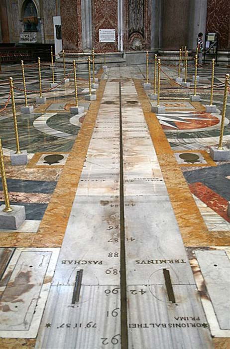 The meridian line in the Basilica of Santa Maria degli Angeli e dei Martiri, Rome.