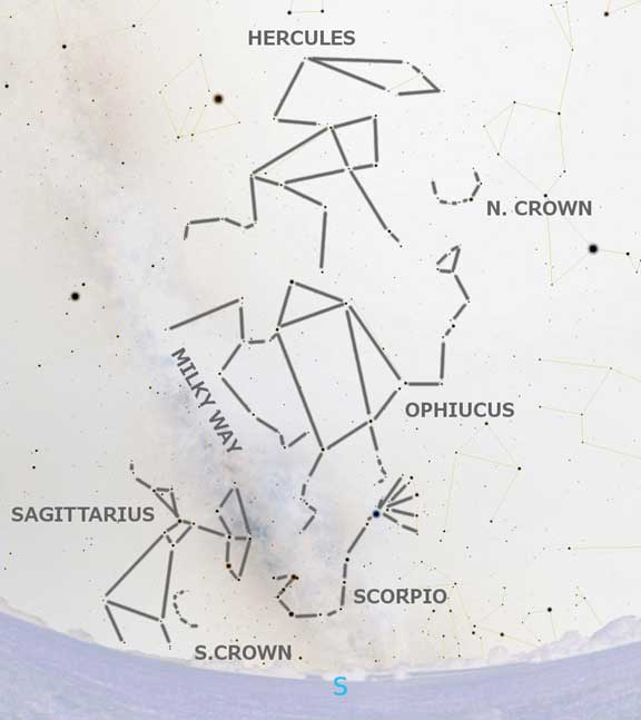 The night sky constellations Hercules, Ophiucus, Corona Borealis and Scorpio. (Author provided).