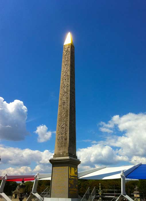 Breaking year old inscribed obelisk dedicated to